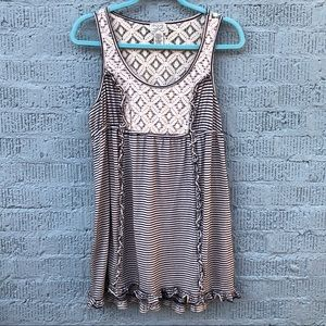 EYELASH Sleeveless Dress-Blue/Cream Stripe-Lace-XL
